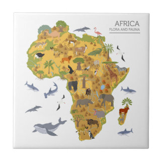 Kaart van Afrika   Flora & Fauna Tegeltje