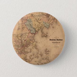 Kaart van Boston 1861 Ronde Button 5,7 Cm