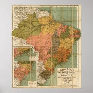 Kaart van Brazilië Poster