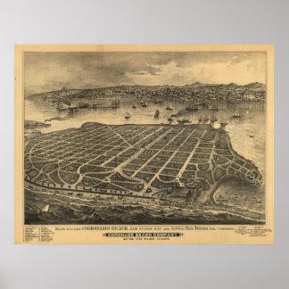 Kaart van Californië 1880s van Coronado de Antiek Poster