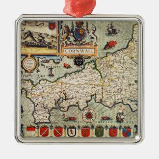 Kaart van Cornwall Zilverkleurig Vierkant Ornament