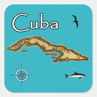 Kaart van Cuba (wijnoogst) Vierkante Sticker
