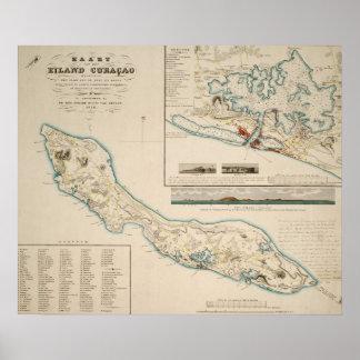 Kaart van Curaçao 1836 Poster