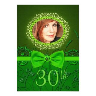 kaart van de 30ste verjaardags de Elegante groene 12,7x17,8 Uitnodiging Kaart