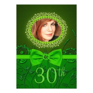 kaart van de 30ste verjaardags de Elegante groene  Persoonlijke Aankondiging