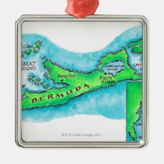Kaart van de Bermudas Zilverkleurig Vierkant Ornament