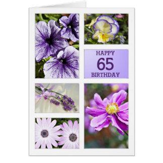 Kaart van de de tinten de bloemen 65ste verjaardag