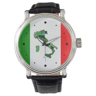 Kaart van de Italiaanse Vlag van Italië en Horloge