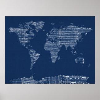 Kaart van de Kaart van de Wereld van de Oude Poster