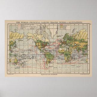 Kaart van de Routes van de vintage Wereld de Poster