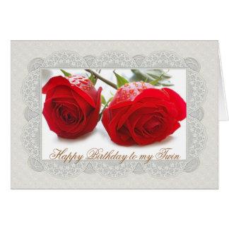Kaart van de twee de rode rozen TweelingVerjaardag