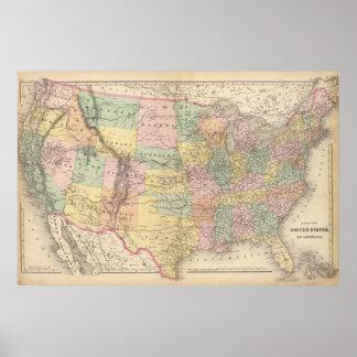 Kaart van de Verenigde Staten van Amerika 3 Poster