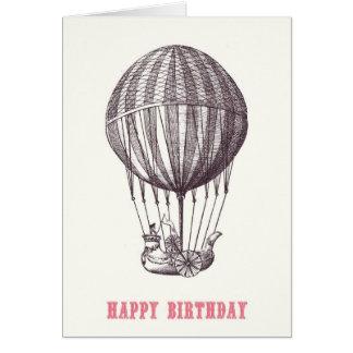 Kaart van de Verjaardag van de vintage Ballon de