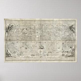 Kaart van de Wereld (1597) Poster