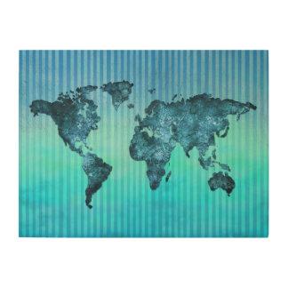 Kaart   van de wereld de Blauwe Strepen van het Hout Afdruk