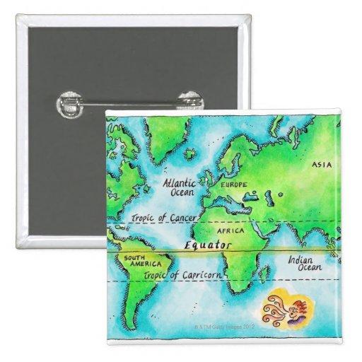 Kaart van de wereld de evenaar button zazzle - Home key van de wereld ...