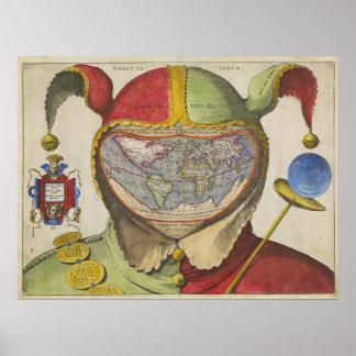 Kaart van de Wereld van dwazen de Hoofd Vintage Poster