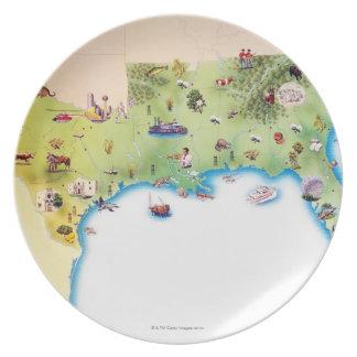 Kaart van de Zuidelijke Verenigde Staten van Ameri Diner Borden