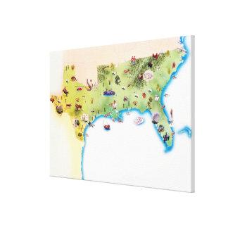 Kaart van de Zuidelijke Verenigde Staten van Ameri Stretched Canvas Afdrukken