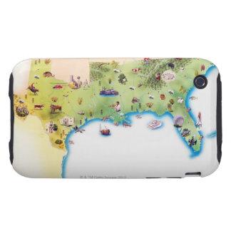 Kaart van de Zuidelijke Verenigde Staten van Ameri Tough iPhone 3 Cases