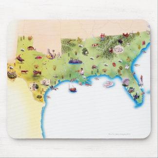 Kaart van de Zuidelijke Verenigde Staten van Ameri Muis Mat