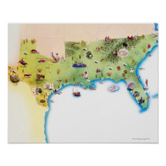 Kaart van de Zuidelijke Verenigde Staten van Ameri Poster