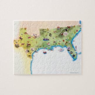 Kaart van de Zuidelijke Verenigde Staten van Ameri Stukjes Puzzels