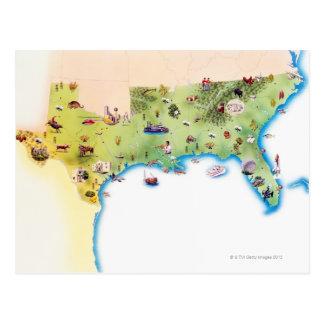 Kaart van de Zuidelijke Verenigde Staten van Briefkaart