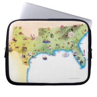 Kaart van de Zuidelijke Verenigde Staten van Laptop Sleeve