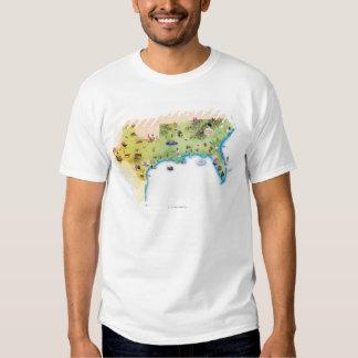 Kaart van de Zuidelijke Verenigde Staten van T Shirt