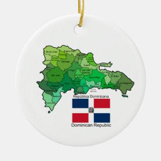 Kaart van Dominicaanse Republiek Rond Keramisch Ornament