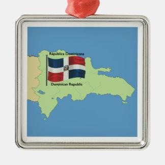 Kaart van Dominicaanse Republiek Zilverkleurig Vierkant Ornament