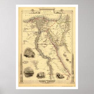 Kaart van Egypte en Arabië Petrea door Rapkin 1851 Poster
