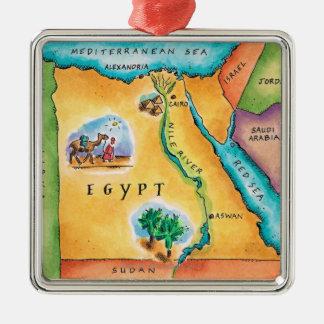 Kaart van Egypte Zilverkleurig Vierkant Ornament