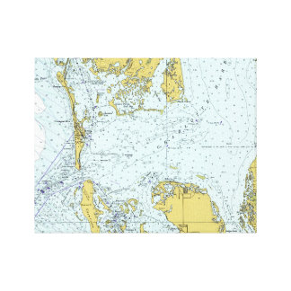 Kaart van Florida van de Haven van Charlotte de Canvas Afdrukken