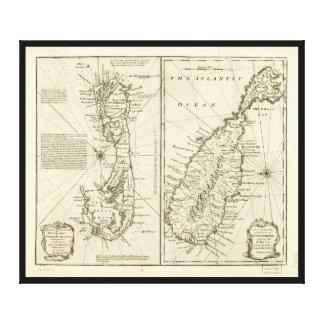 Kaart van het Eiland van de Bermudas door Emanuel Canvas Print