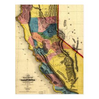 Kaart van het Gouden Gebied in Californië (1851) Briefkaart