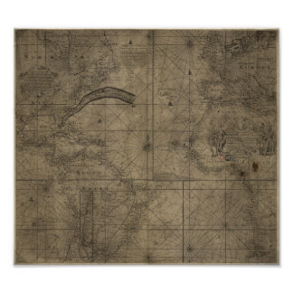 Kaart van het Gulf Stream en Antlantic de Oceaan Poster