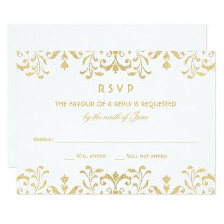 Kaart | van het huwelijk RSVP Gouden Vintage 8,9x12,7 Uitnodiging Kaart
