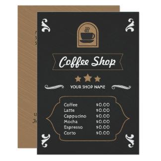 Kaart van het Menu van de Winkel van de koffie