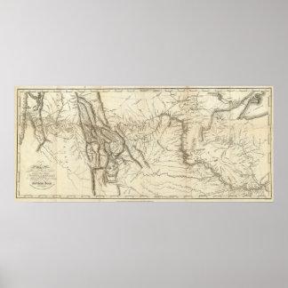 Kaart van het Spoor van Lewis en van Clark Poster