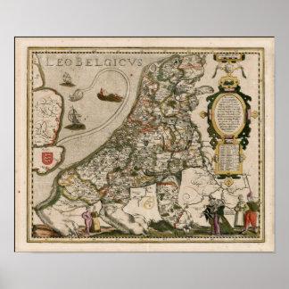 Kaart van Holland 1617 - Leeuw Belgicus Poster