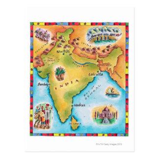 Kaart van India Briefkaart