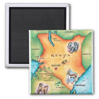 Kaart van Kenia Vierkante Magneet