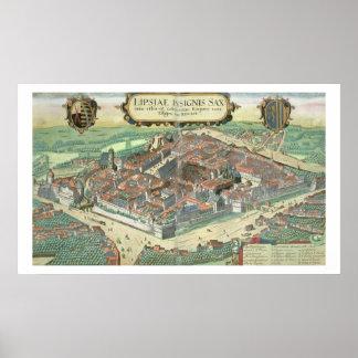 """Kaart van Leipzig, van """"Civitates Orbis Terrarum""""  Poster"""