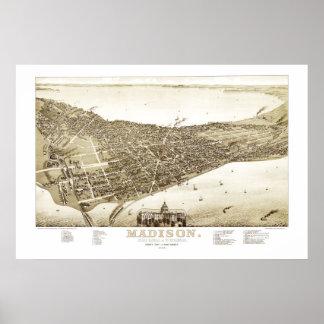 Kaart van Madison, Wisconsin van 1885 Poster