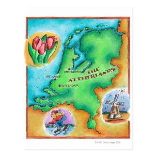 Kaart van Nederland Briefkaart