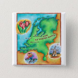 Kaart van Nederland Vierkante Button 5,1 Cm