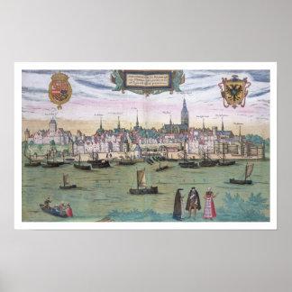"""Kaart van Nijmegen, van """"Civitates Orbis Terrarum"""" Poster"""