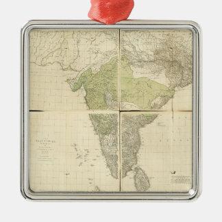 Kaart van Oost-Brits-Indië met de Wegen (1768) Zilverkleurig Vierkant Ornament